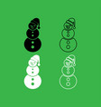 snowman icon black and white color set vector image vector image