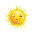 sun smile winking cartoon emoticon summer emoji vector image vector image