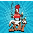 The penguin dressed as a rooster new year 2017 vector image vector image