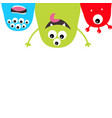 three monster silhouette set hanging head face vector image vector image