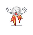 tongue out silver medal on mascot cupboard vector image vector image