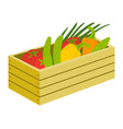 vegetables in wooden box harvest in case vector image