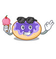 with ice cream donut blueberry character cartoon vector image