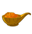 wooden cup filled with red caviar vector image