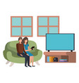 young couple using smartphone in living room vector image vector image