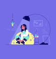 young relaxing woman character under lamp vector image