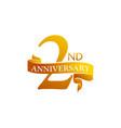 2 year ribbon anniversary vector image vector image