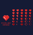 8 bit pixel art gui game design element - heart vector image vector image