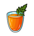 a glass with orange drink and a leafhealthy vector image vector image