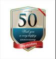 anniversary golden label 50 years vector image vector image