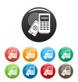 approved terminal payment icons set color vector image vector image