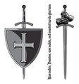 armour gloves knight shield and sword vector image vector image
