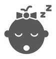 baby girl sleep glyph icon child and face vector image vector image