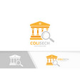 bank and loupe logo combination column and vector image