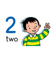 boy showing two hand counting education card 2 vector image