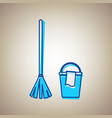 broom and bucket sign sky blue icon with vector image vector image