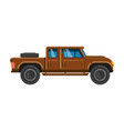 brown pick-up truck vehicle pickup car family vector image vector image