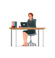 business woman in a suit working on a laptop vector image vector image