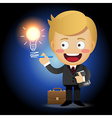 businessman holding pen drawing light bulb vector image vector image