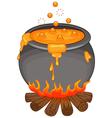 Cartoon Halloween cauldron isolated