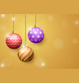 christmas ball on golden abstract background vector image vector image