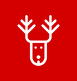 christmas deer simple flat icon vector image