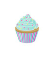 cupcake with blue cream and bright round sprinkles vector image vector image