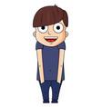 cute cartoon boy with happy emotions vector image vector image