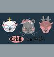 cute cartoon little animals childish print vector image vector image