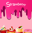 Different kind of dessert strawberry flavor vector image vector image