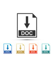 doc file document icon download doc button icon vector image vector image
