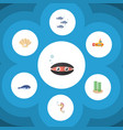 flat icon marine set of cachalot tuna conch and vector image vector image