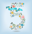 floral number five with blue ribbon vector image vector image