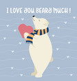 funny valentines day card with polar bear vector image vector image