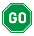 go sign on white background flat style green go vector image vector image