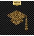 Gold glitter icon of square academic cap vector image