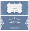 Grey 3d Vintage Invitation Card with Floral vector image vector image