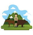 grizzly bear and moose canadian scene vector image
