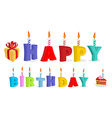 Happy birthday Letters and candles Logo for vector image vector image