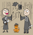 happy man and woman students graduation throw hat vector image vector image