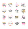 happy mothers day set of logo isolated for holiday vector image
