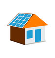 house with solar battery icon sun energy label vector image
