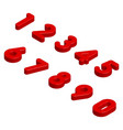 isometric red 3d numbers isolated vector image vector image