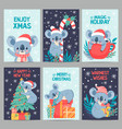koala christmas happy animals with gift boxes vector image