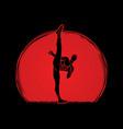 kung fu karate high kick front view vector image