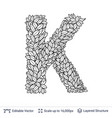 letter k symbol of white leaves vector image vector image