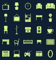 Living room color icons on blue background vector image