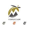 M letter olive logo template