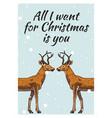 merry christmas banner deer or doe new year vector image vector image