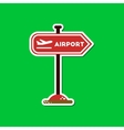 paper sticker on stylish background airport sign vector image vector image